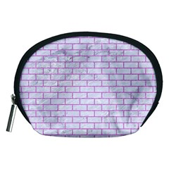 Brick1 White Marble & Purple Colored Pencil (r) Accessory Pouches (medium)