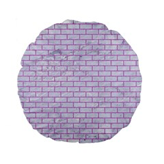 Brick1 White Marble & Purple Colored Pencil (r) Standard 15  Premium Flano Round Cushions by trendistuff