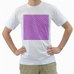 Brick1 White Marble & Purple Colored Pencil Men s T Shirt (white) (two Sided)