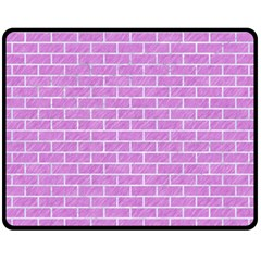 Brick1 White Marble & Purple Colored Pencil Fleece Blanket (medium)  by trendistuff