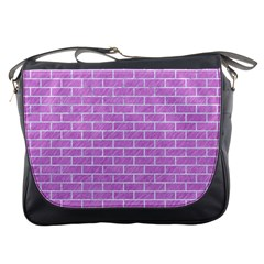 Brick1 White Marble & Purple Colored Pencil Messenger Bags