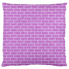 Brick1 White Marble & Purple Colored Pencil Large Cushion Case (one Side)