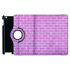 Brick1 White Marble & Purple Colored Pencil Apple Ipad 2 Flip 360 Case