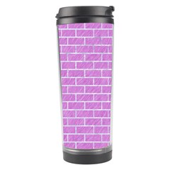 Brick1 White Marble & Purple Colored Pencil Travel Tumbler
