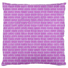 Brick1 White Marble & Purple Colored Pencil Large Flano Cushion Case (two Sides)