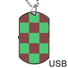 Background Checkers Squares Tile Dog Tag Usb Flash (one Side)