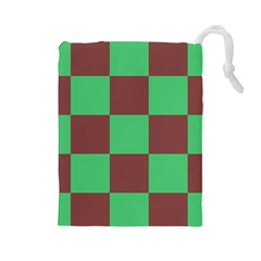 Background Checkers Squares Tile Drawstring Pouches (large)