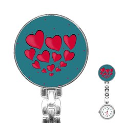 Background Desktop Hearts Heart Stainless Steel Nurses Watch