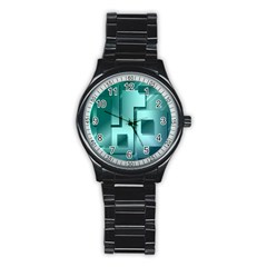 Green Figures Rectangles Squares Mirror Stainless Steel Round Watch