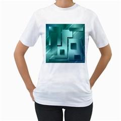Green Figures Rectangles Squares Mirror Women s T Shirt (white)