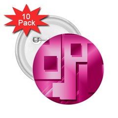 Pink Figures Rectangles Squares Mirror 2 25  Buttons (10 Pack)  by Sapixe