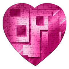Pink Figures Rectangles Squares Mirror Jigsaw Puzzle (heart)