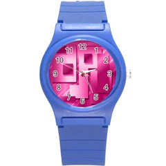 Pink Figures Rectangles Squares Mirror Round Plastic Sport Watch (s)