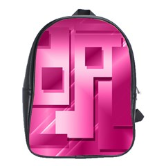 Pink Figures Rectangles Squares Mirror School Bag (xl)