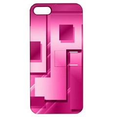 Pink Figures Rectangles Squares Mirror Apple Iphone 5 Hardshell Case With Stand