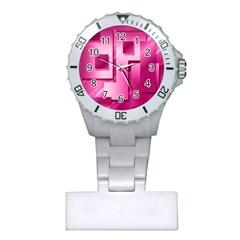 Pink Figures Rectangles Squares Mirror Plastic Nurses Watch