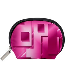 Pink Figures Rectangles Squares Mirror Accessory Pouches (small)