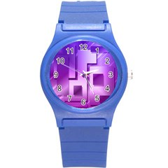 Purple Figures Rectangles Geometry Squares Round Plastic Sport Watch (s)
