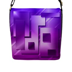 Purple Figures Rectangles Geometry Squares Flap Messenger Bag (l)