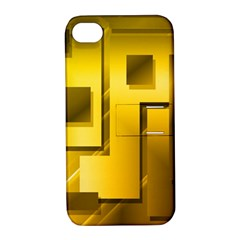 Yellow Gold Figures Rectangles Squares Mirror Apple Iphone 4/4s Hardshell Case With Stand