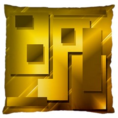 Yellow Gold Figures Rectangles Squares Mirror Large Flano Cushion Case (one Side)
