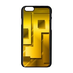 Yellow Gold Figures Rectangles Squares Mirror Apple Iphone 6/6s Black Enamel Case by Sapixe