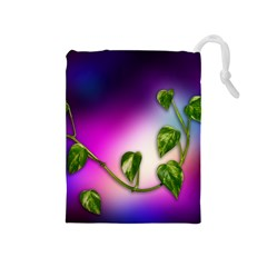Leaves Green Leaves Background Drawstring Pouches (medium)