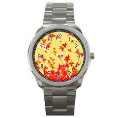 Leaves Autumn Maple Drop Listopad Sport Metal Watch by Sapixe