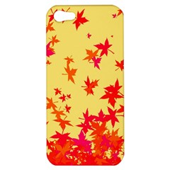 Leaves Autumn Maple Drop Listopad Apple Iphone 5 Hardshell Case by Sapixe