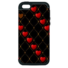 Background Texture Texture Hearts Apple Iphone 5 Hardshell Case (pc+silicone)
