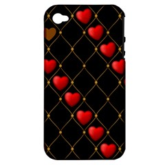 Background Texture Texture Hearts Apple Iphone 4/4s Hardshell Case (pc+silicone)