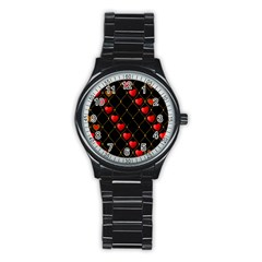 Background Texture Texture Hearts Stainless Steel Round Watch