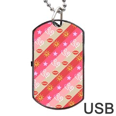 Background Desktop Pink Sun Stars Dog Tag Usb Flash (one Side)