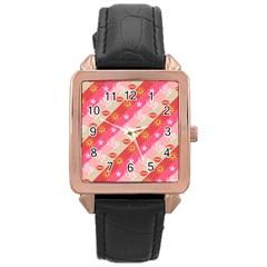 Background Desktop Pink Sun Stars Rose Gold Leather Watch