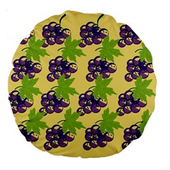 Grapes Background Sheet Leaves Large 18  Premium Round Cushions