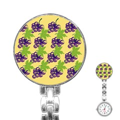 Grapes Background Sheet Leaves Stainless Steel Nurses Watch