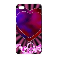 Background Texture Reason Heart Apple Iphone 4/4s Seamless Case (black)