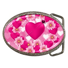 Background Flowers Texture Love Belt Buckles by Sapixe