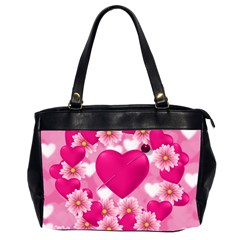 Background Flowers Texture Love Office Handbags (2 Sides)