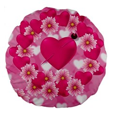 Background Flowers Texture Love Large 18  Premium Round Cushions