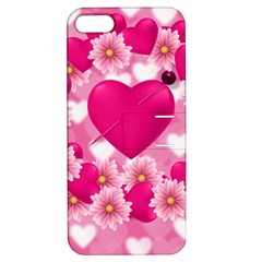Background Flowers Texture Love Apple Iphone 5 Hardshell Case With Stand