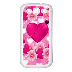 Background Flowers Texture Love Samsung Galaxy S3 Back Case (white)