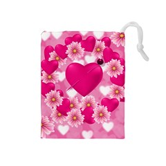 Background Flowers Texture Love Drawstring Pouches (medium)