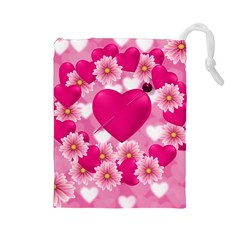 Background Flowers Texture Love Drawstring Pouches (large)