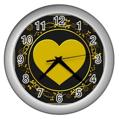 Background Heart Romantic Love Wall Clocks (silver)  by Sapixe