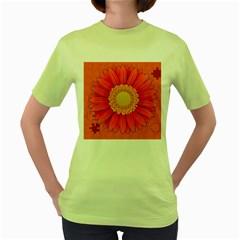 Flower Plant Petal Summer Color Women s Green T Shirt