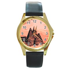 Pyramid Egypt Monumental Round Gold Metal Watch by Sapixe
