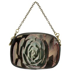 Succulent Green Pink Rosettes Chain Purses (two Sides)