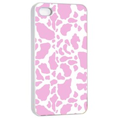 White Pink Cow Print Apple Iphone 4/4s Seamless Case (white)