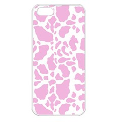 White Pink Cow Print Apple Iphone 5 Seamless Case (white)